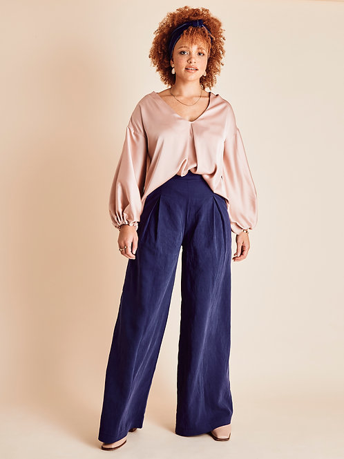 Ember Navy High Waisted Wide-leg Trousers