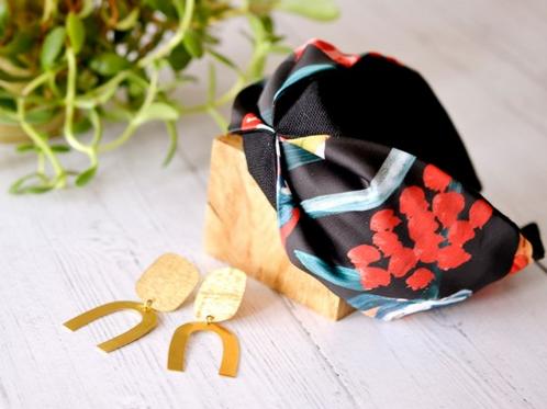 Soraya Colourful Floral print on Black Headband