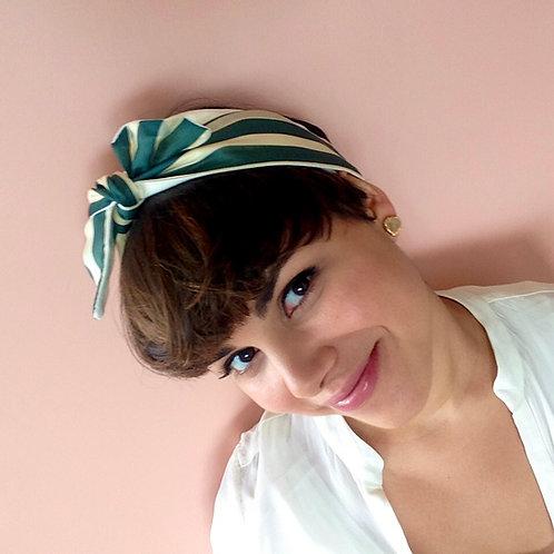 Green Striped Knot-tie Headband