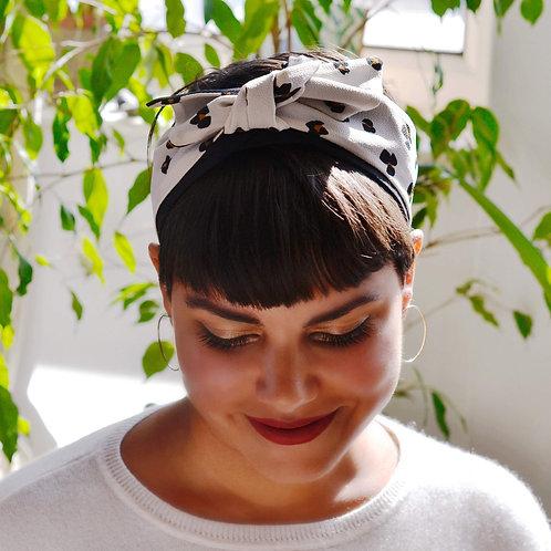 Elle Leopard Animal print on White Knot-tie Headband