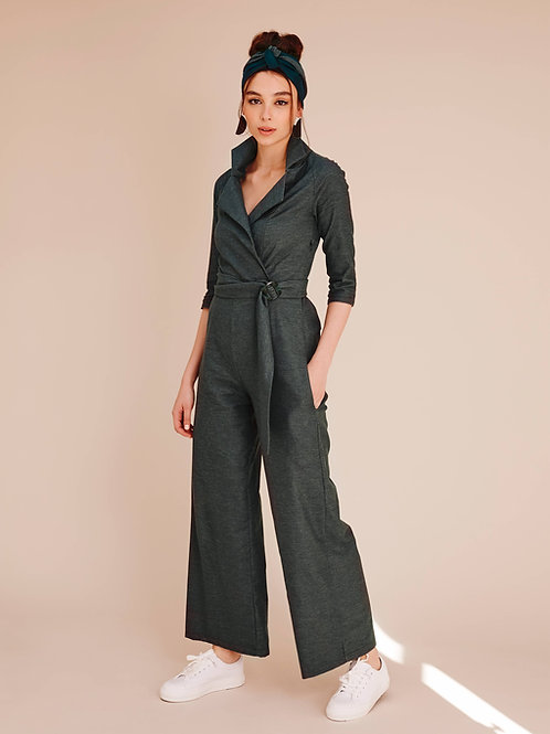 Aleah Eucalyptus Grey Tie-waist Jumpsuit