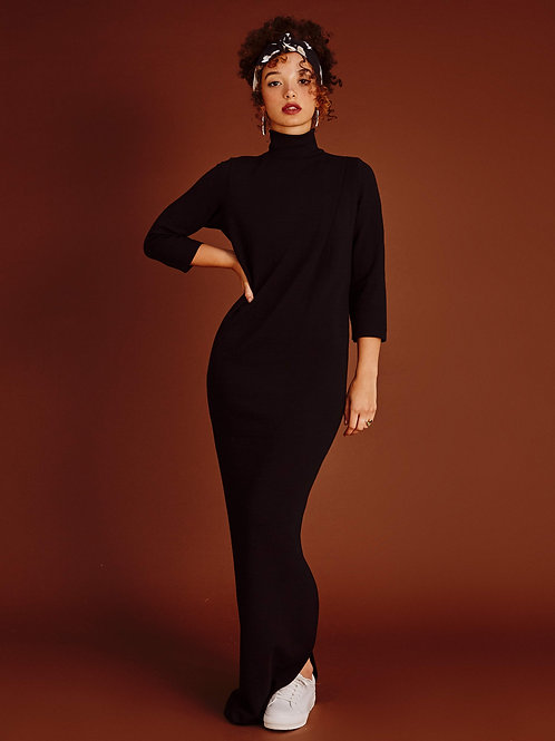 Robe noir ebène Diana, longue à col roulé