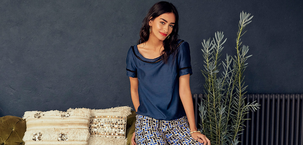 Our Ines Draped Top in Satin Blue from our Moroccan Collection