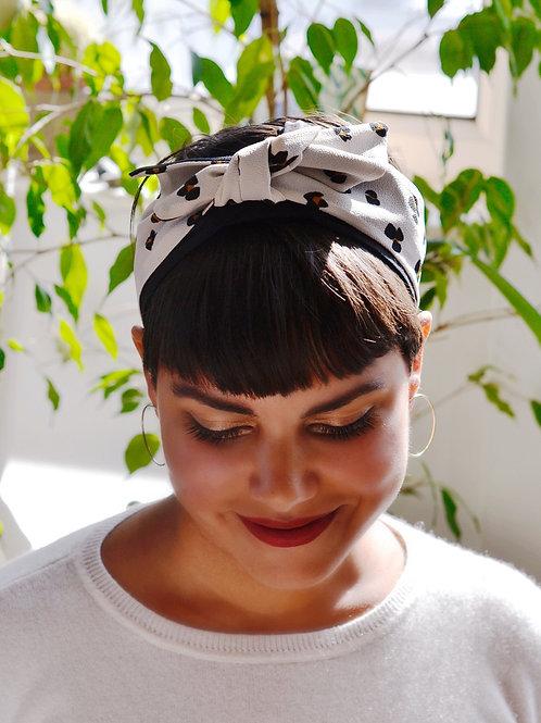 Headband Elle imprimé léopard blanc