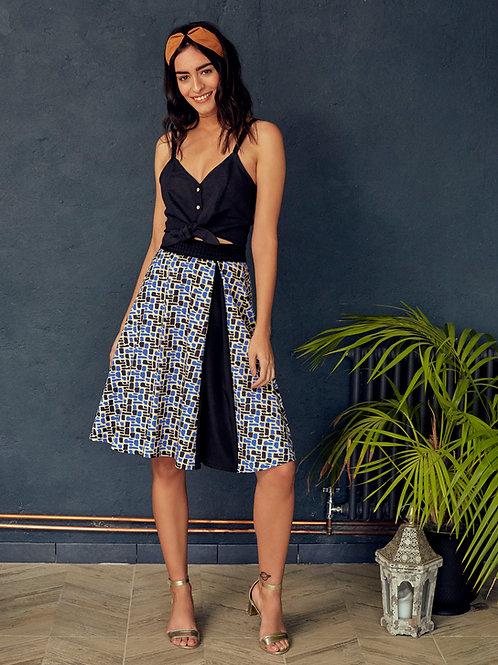 Amira Geometric Print A-line Skirt