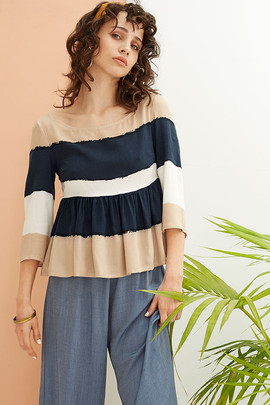 Adena Top in Navy Stripes