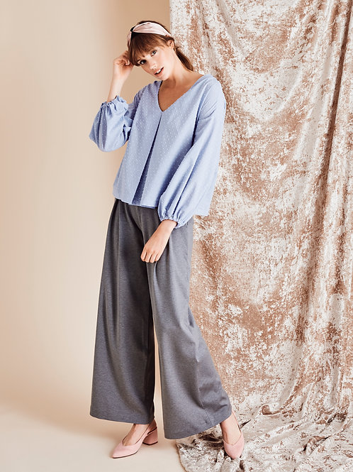 Ember Slate Grey High Waisted Wide-leg Trousers
