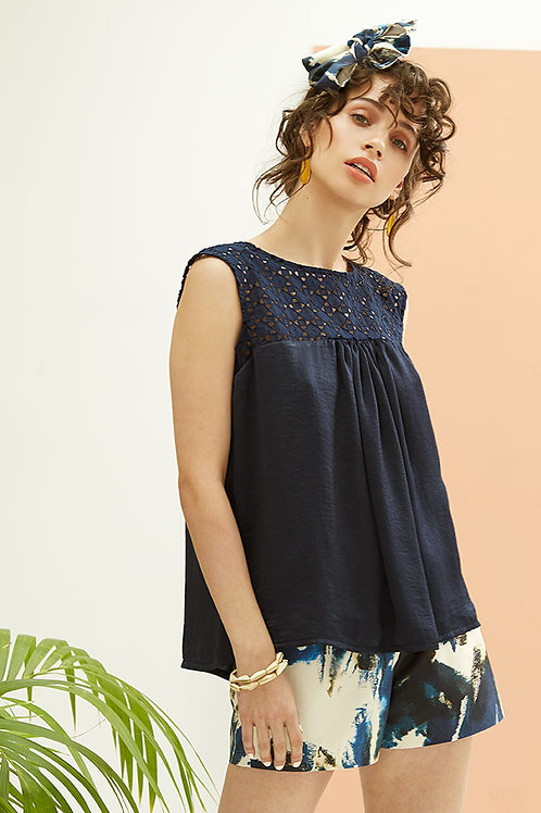 Dawn Navy Cotton Lace Yoke Sleeveless Top