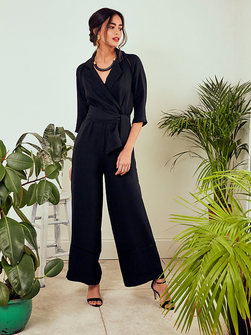 Aleah Midnight Black Tie-Waist Jumpsuit