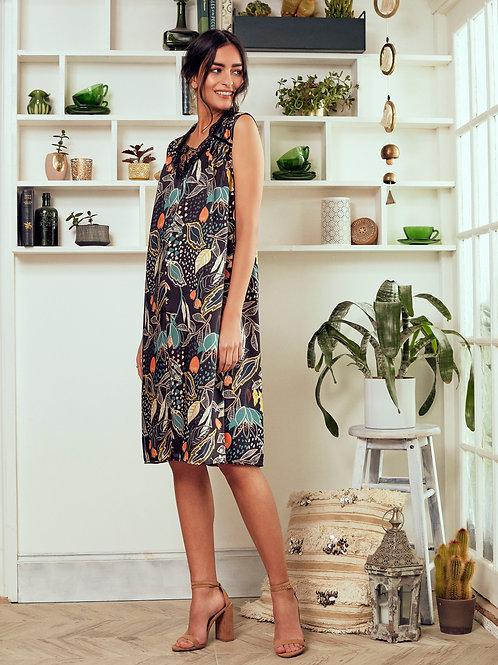 Keisha Black Ivy print Sleeveless V-Neck Shift Dress