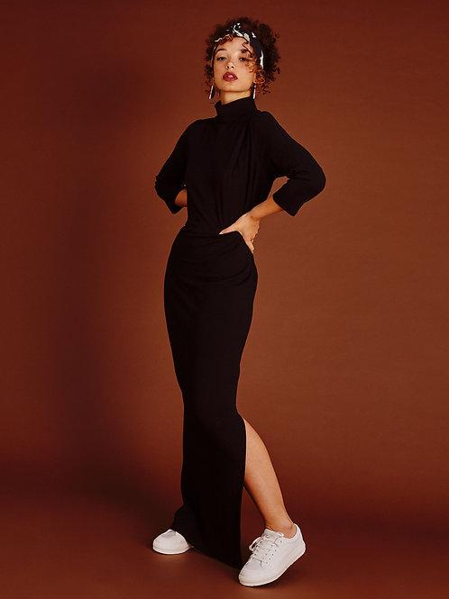 Diana Mock-neck Ebony Black Maxi Dress