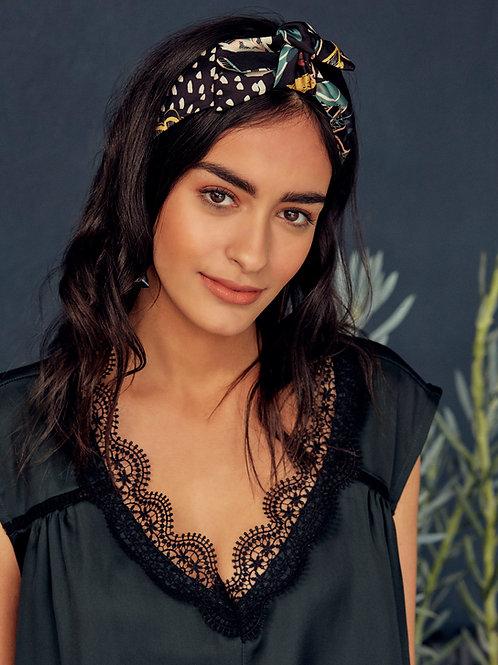 Floral print Black Ivy Knot-tie Headband