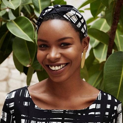 Chelsea Black and White Checkered Print Headband