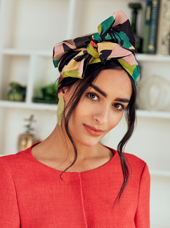 Chic pink, green and black long wrap headband