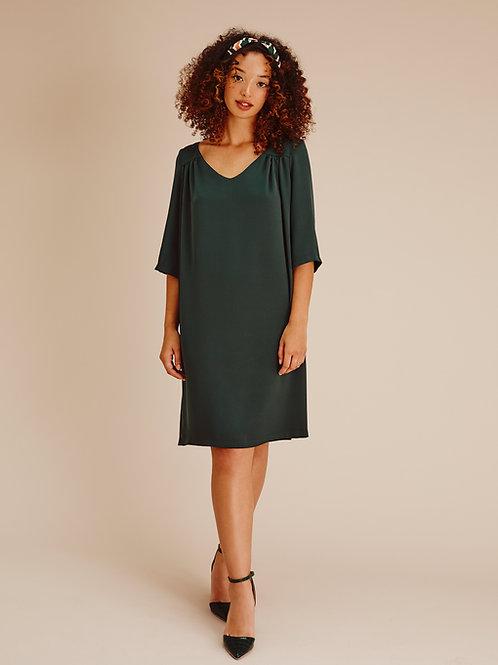 Claude Emerald Green Boxy V-Neck Shift Dress
