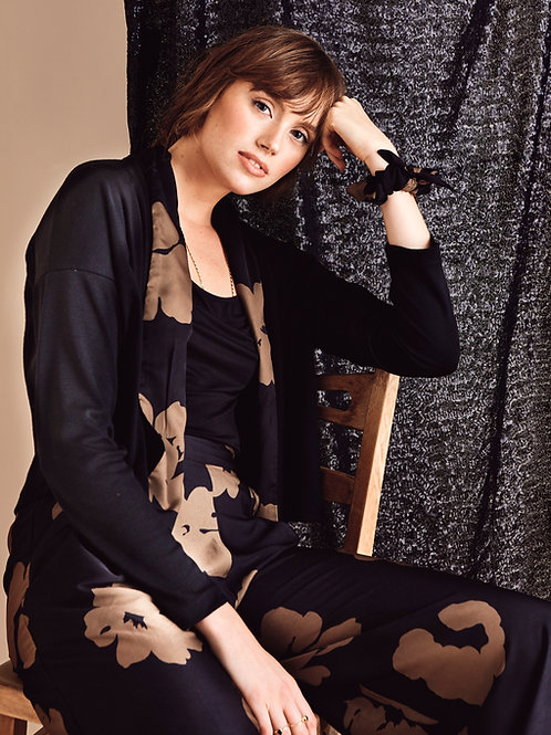 Josephine Black Marigold Contrast Cropped Cardigan