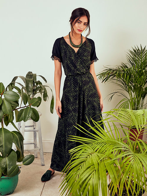 Yasmine Green Forest V-Neck Maxi Dress