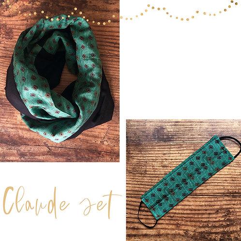 Claude vintage silk Snood & Mask Set