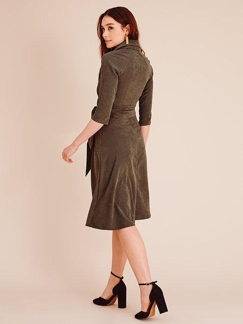 Roxanne Khaki Green Wrap Dress