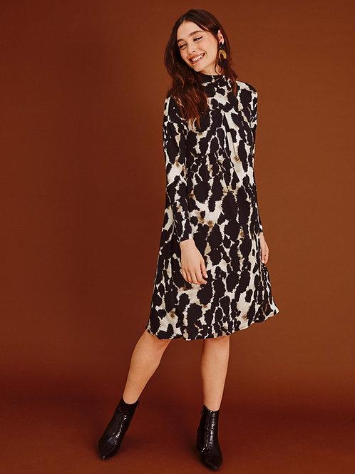 Eira Mock-turtle Animal Print A-line Dress