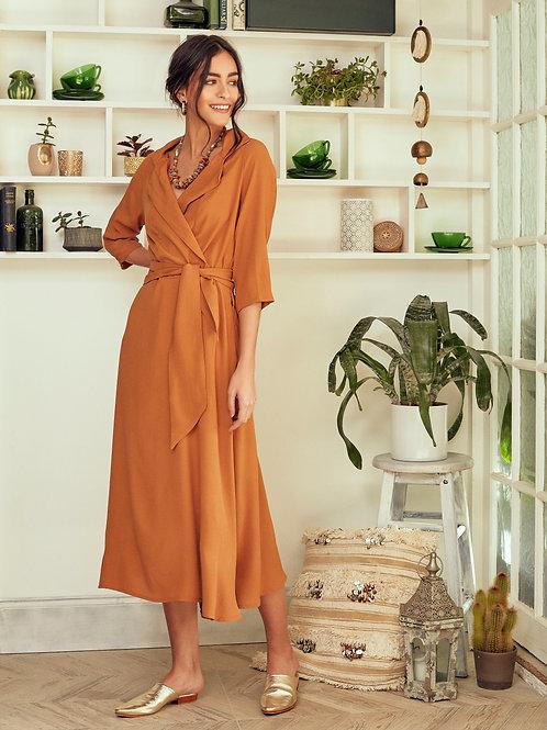Roxanne Ochre Wrap Dress