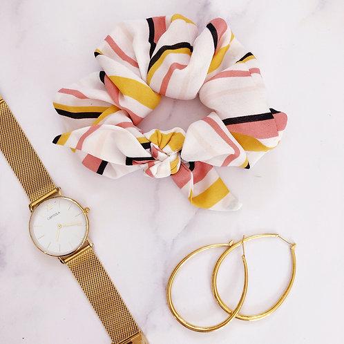 Yellow pink and white Madison Scrunchie