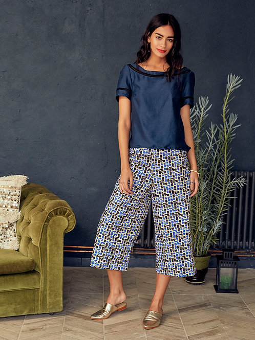 Solange  Amira Print Wide-leg Cropped Trousers