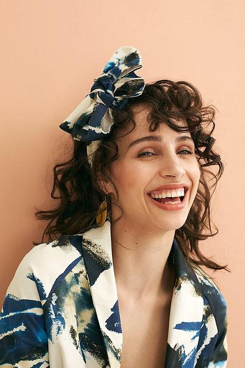 Serre-tête foulard Bleu Paloma peinture abstraite