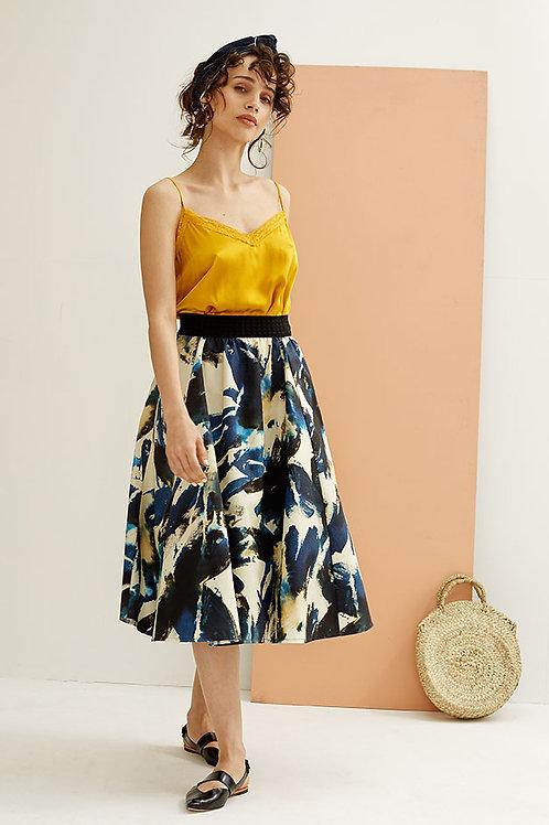 Paloma Abstract Print Flared Midi Skirt