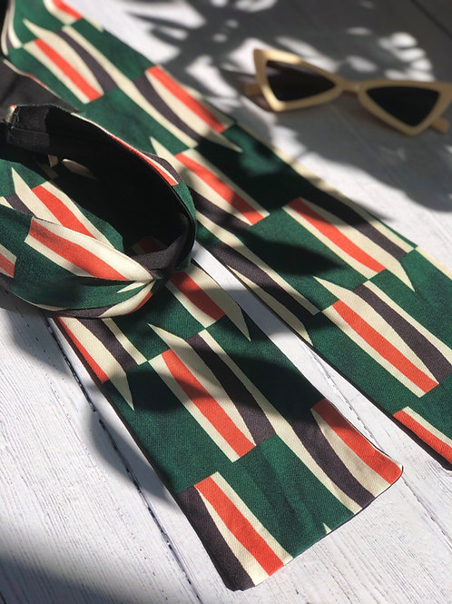 Serre-tête foulard Fern imprimé géométrique rétro vert et saumon