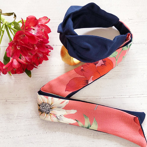 Blooms on Pink Sienne Navy Knot-tie Headband