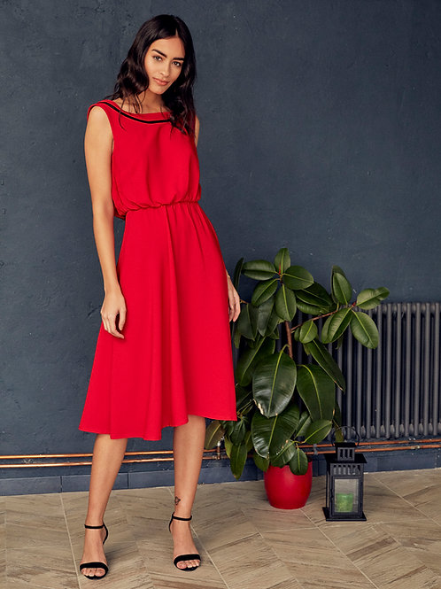 Ines Sunset Scarlet Open-Back Dress