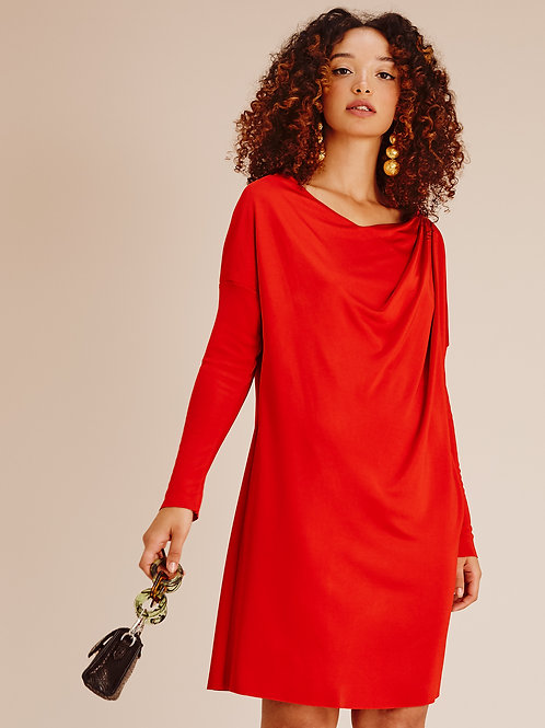 Lexi Winterberry Red Drape Dress