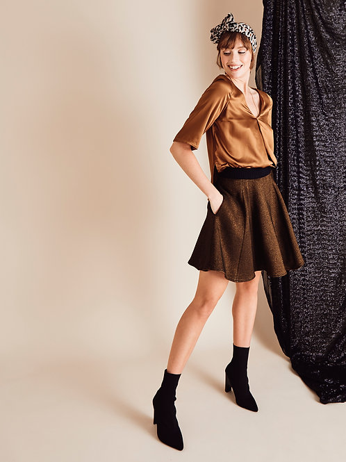Danni Copper Short Skater Skirt