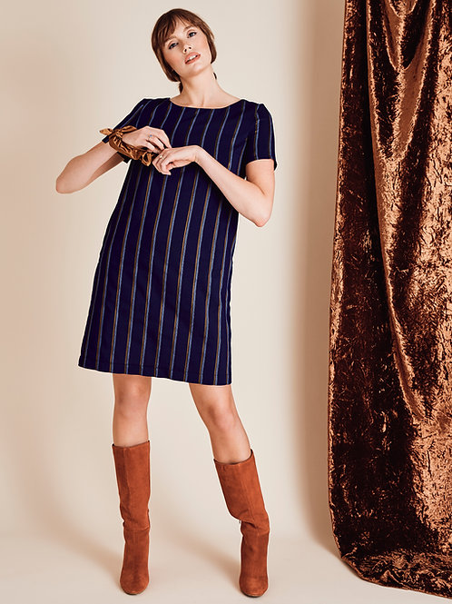 Viola navy pinstripe A-line Dress