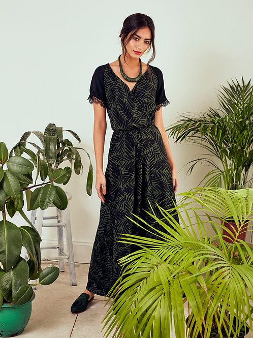 Robe longue Yasmin à imprimé forêt tropicale