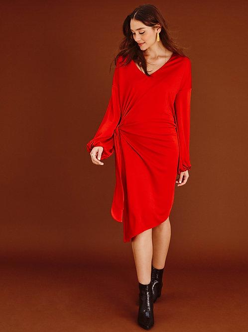 Robe drapée Aadya Rouge