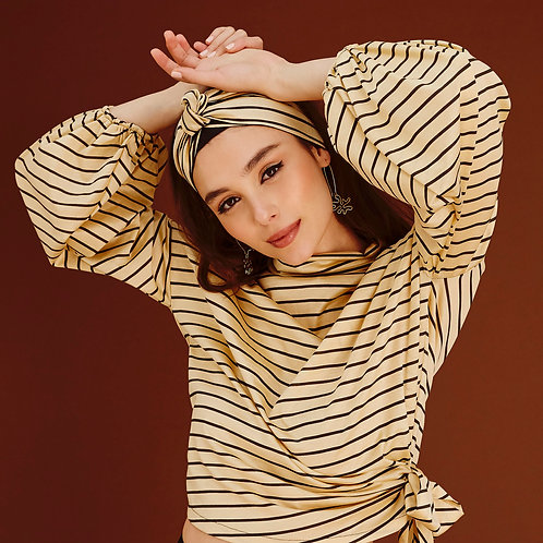 Amie Créme and Green striped Wrap Headband