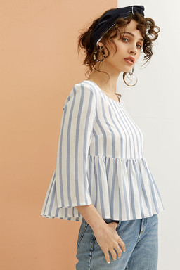 Adena Top in white and blue stripes
