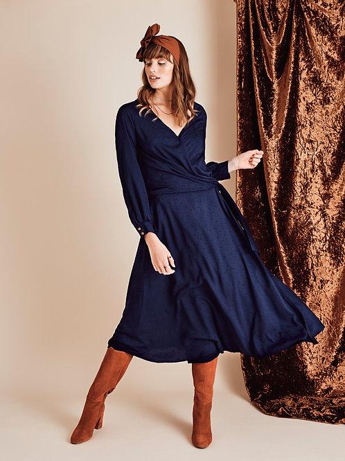 Robe portefeuille Gwenyth, bleu marine, nouée à la taille.