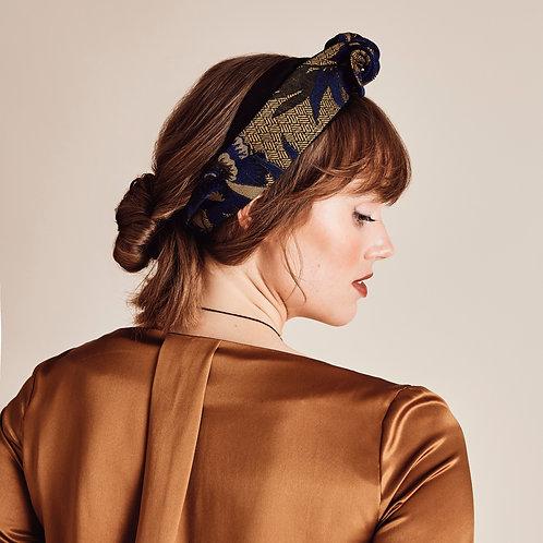Aster Jacquard Floral Knot-tie Headband