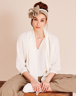 Beige and cotton flower white two-tone Long Wrap Headband