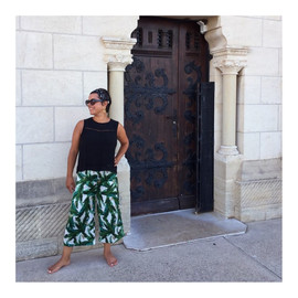 Solange trousers in Banana leaves