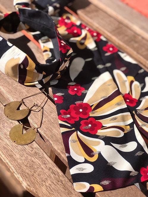 Magnolia Floral print Dark Navy Wrap Headband