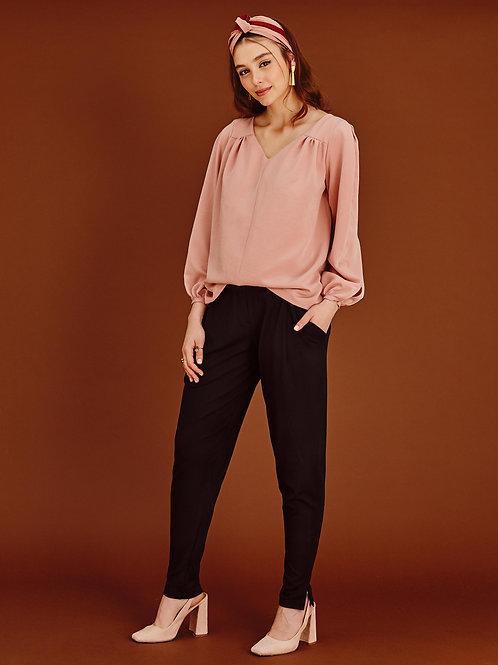 Phoebe Blush Pink V-Neck Blouse