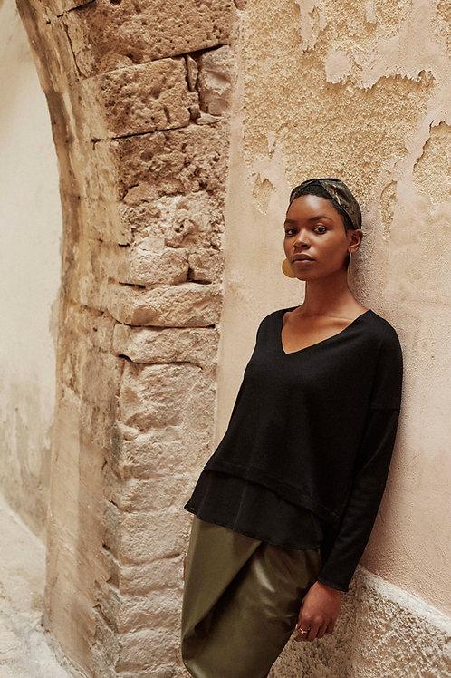 Lorna Black Ebony V-neck Jumper