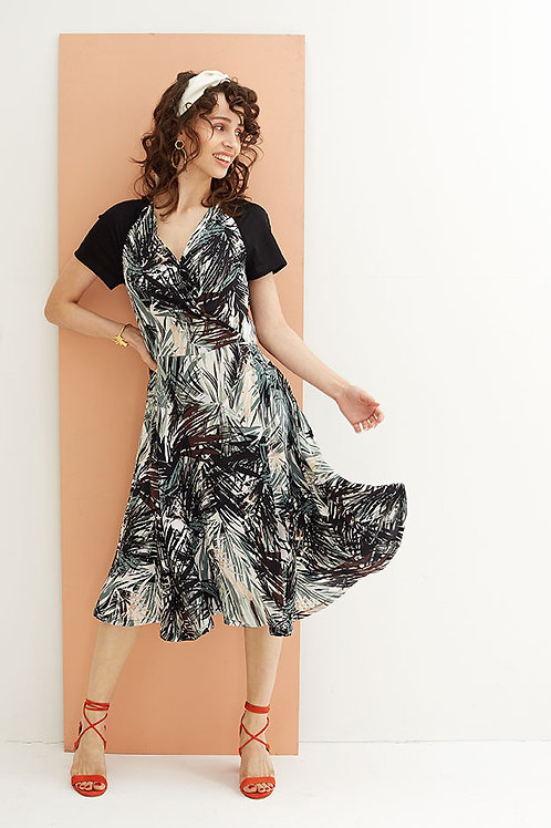 Alexandria Tropical print Crossover Wrap Dress