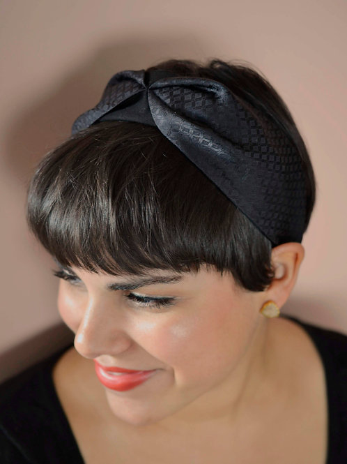 Selena Jacquard Black Headband