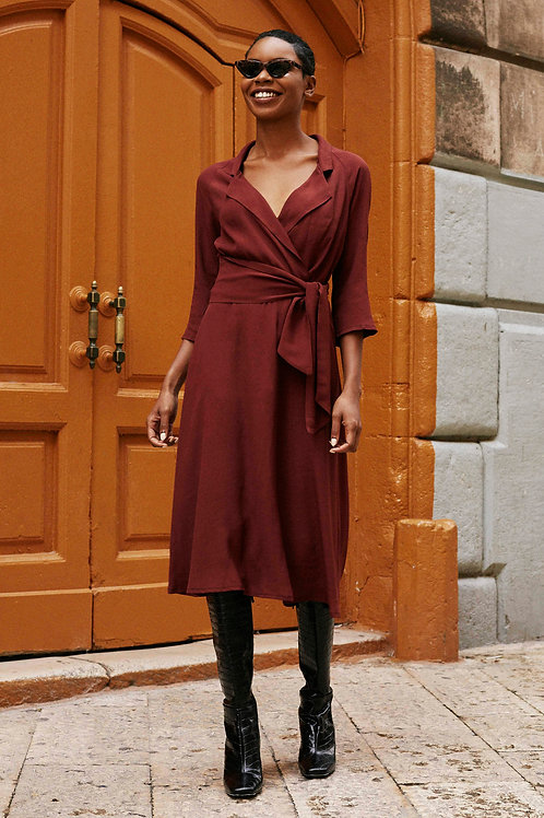 Robe Roxanne Bordeaux Marron