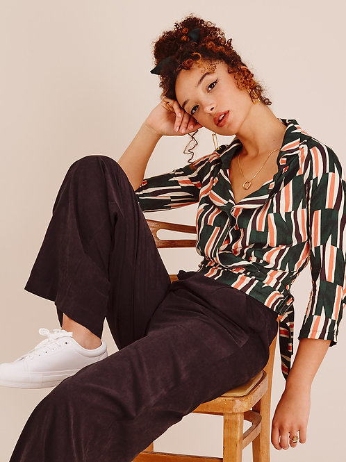 Jade Retro print Belted Cropped Wrap Shirt